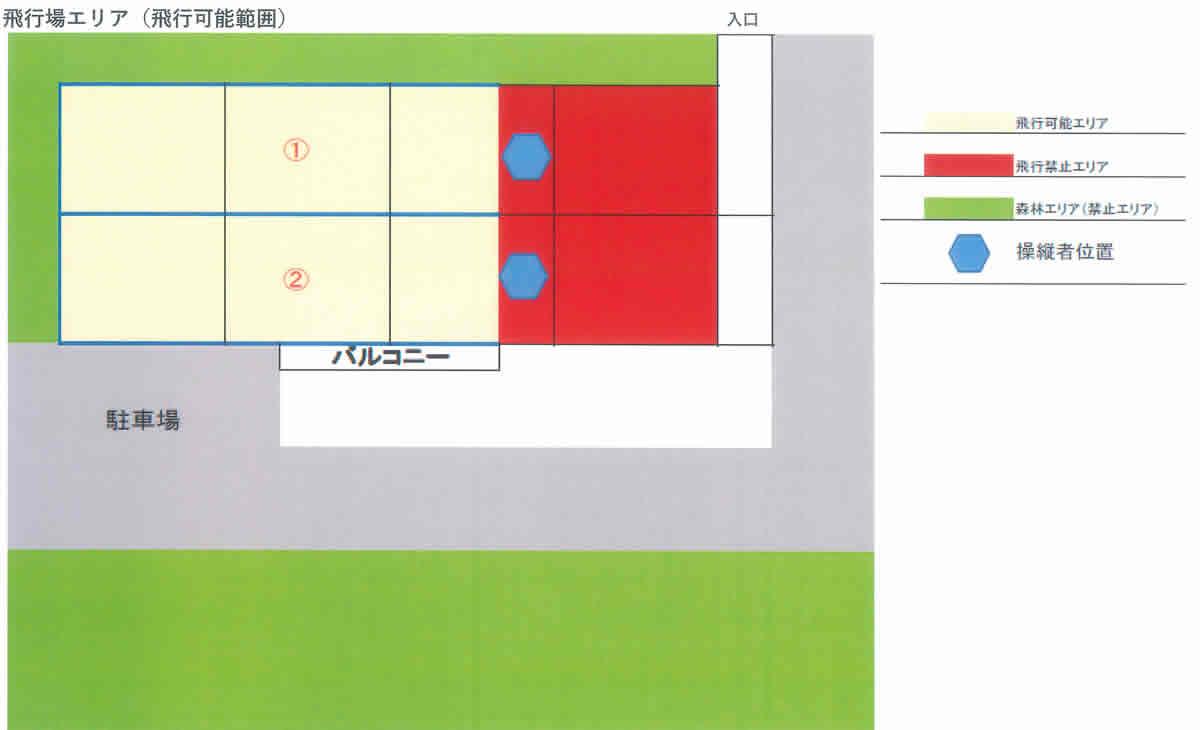 青葉山練習場 飛行エリア(飛行可能範囲)