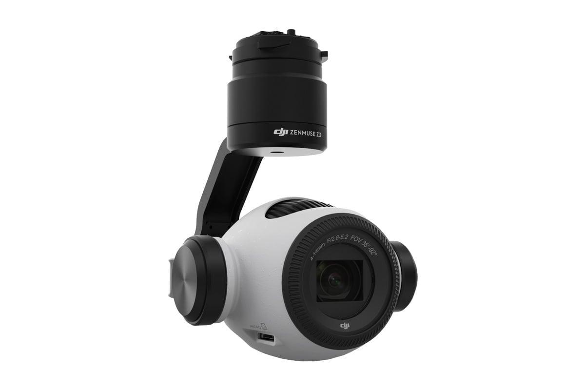 Zenmuse Z3 ジンバル・カメラには、3.5 倍光学ズームおよび 2 倍デジタルズームが可能な光学ズームレンズが搭載されています。